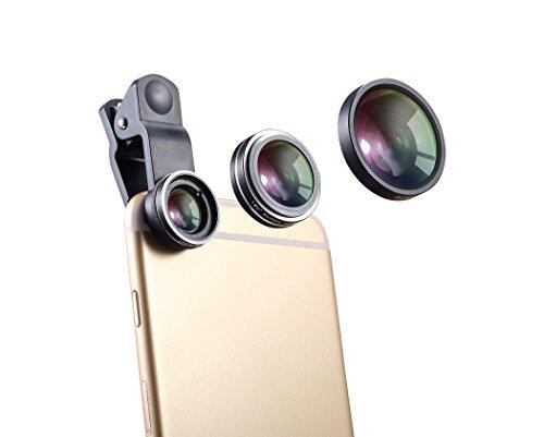 Juego de lentes para móvil, de WONBSDOM, 3en 1 (ojo de pez, macro y gran angular), con clipuniversal, gamuza de limpieza hecha de microfibra, compatible con iPhone 4S, 5, 5S, 5C, SE, 6, 6S Plus, 7 y 7Plus; las series de iPod Touch e iPad; Samsung Galaxy S4, S5, S6 y S7; Note 2, 3, 4, 5 y 6; HTC, Nokia, Sony, Blackberry.
