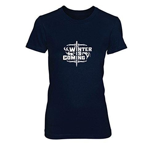 GoT: Winter Sword - Damen T-Shirt, Größe: L, dunkelblau (Jon Snow Kostüme)