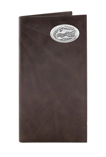 ZEP-PRO NCAA Florida Gators Brown Wrinkle Leather Roper Concho Portemonnaie, One Size - Brown Gator