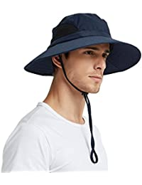 279e0c96 EINSKEY Wide Brim Sun Hat Summer UV Protection Beach Hat Showerproof Safari  Boonie Hat Foldable Fishing