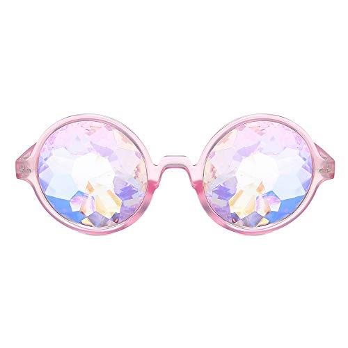 MMLC Kaleidoskop Gläser Regenbogen Rave Wurmloch Prisma Diffraktion Brille (Pink)