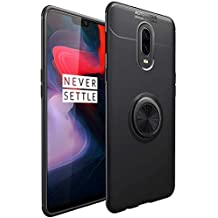 BIGZOOK® 360 Degree Rubber Case with Elegant Ring Stand Back Case Cover for One Plus 6T [1+6T] [2018 Launch] [Ring Stand - Black]