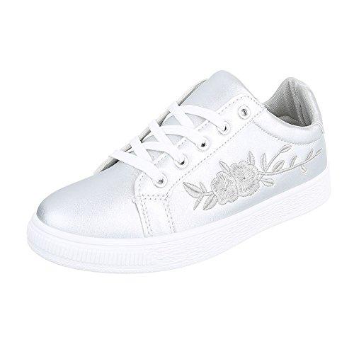 Low-Top Sneaker Damen-Schuhe Low-Top Sneakers Schnürsenkel Ital-Design Freizeitschuhe Silber, Gr 39, 6732-Y-