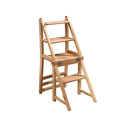 Klappstuhl Holz multifunktionale Cabrio Folding Home Küche Leiter Stuhl Vier Schritt Hocker (Farbe : Natural Color)