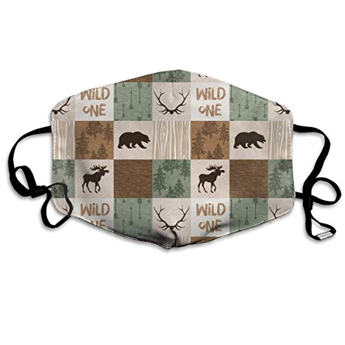 3 Wild One Quilt - Green And Brown - Moose, Bear, Antlers, Hunting Camo Anti Dust Mask Anti Pollution Washable Reusable Mouth Masks Camo Quilt