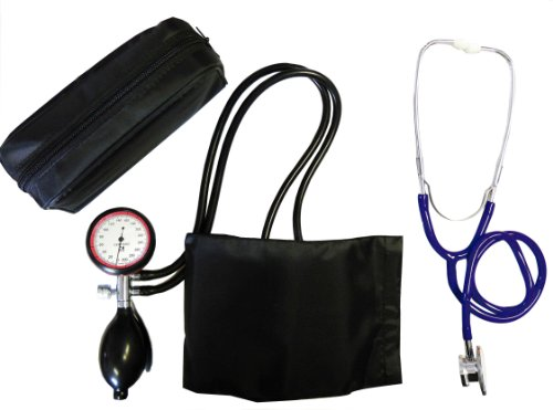 Blutdruckmessgerät, Oberarm, 2- Schlauch Tiga Gold 2 + Doppelkopfstethoskop Blau Stetoskop Stethoskope Doppelkopf 1 Stück (= 1 Set - 2 Artikel) zertifizierte Qualität