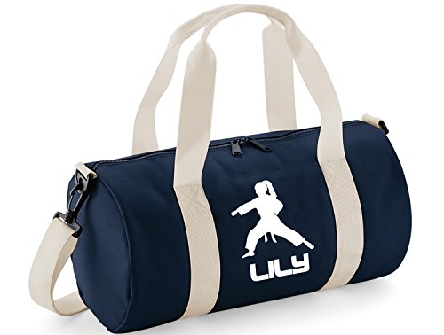 (Personalisierbare Tasche für Kinder, mit Karate-/Fitness-Thema Einheitsgröße Navy & White / White Print)