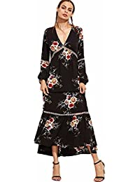 Damen Kleid Longra Boho Long Maxi Kleid Damen V-Ausschnitt Langarm Blumen  Casual Beach Party 1b7fbd76ec