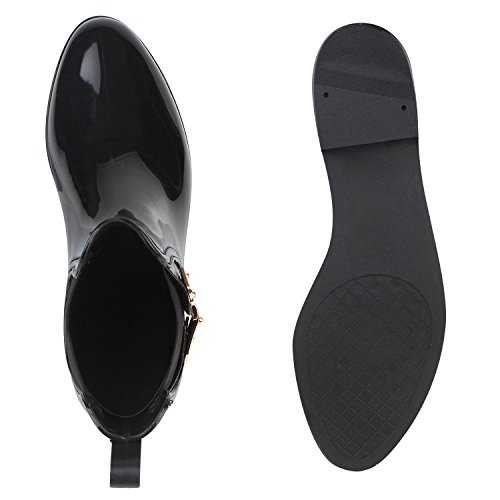 Regenschuhe Damen | Gummistiefel mit Block Absatz | Chelsea Boots | Gr. 36-41 Schwarz