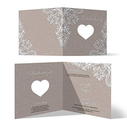 20 x Lasergeschnittene Hochzeitseinladungen Silberhochzeit silberne Hochzeit Einladung individuell - Rustikal Kraftpapier