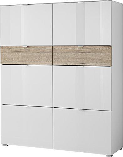 Germania GW-Alameda Schuhschrank, Eiche, weiß/nussbaum, 39x120x146 cm