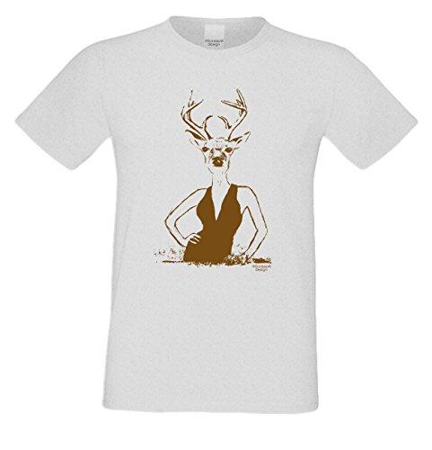 Witziges-Herren-Sprüche-Fun-T-Shirt cooles Volksfest Oktoberfest Party Outfit Motiv Hirschlady auch in Übergrößen Farbe: grau Grau