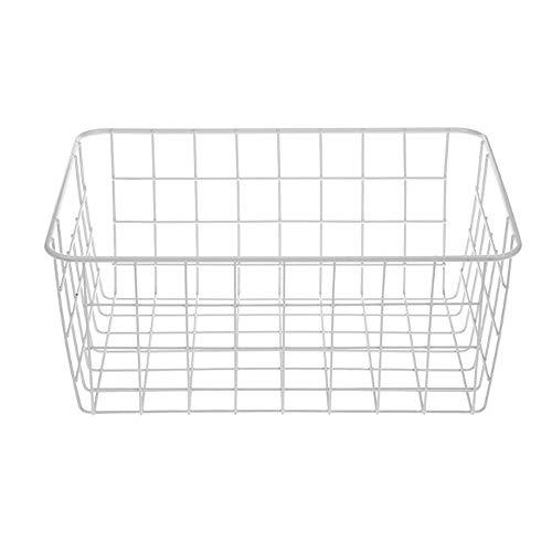 LY/WEY Iron Art Wire Wrought Storage Basket Household Desktop Metal Organizer Holder Bathroom Kitchen Sundries Container,White