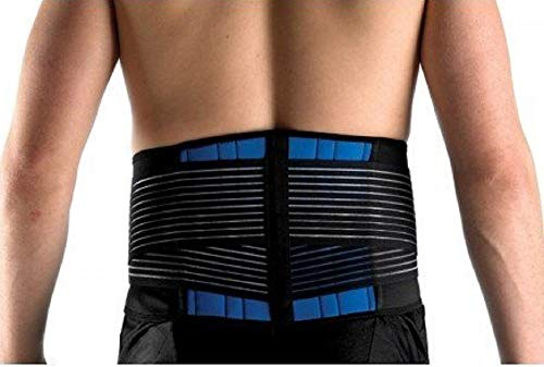"""FitMad® Adjustable Neoprene Double Pull Lumbar Support Lower Back Belt Brace - Back Pain / Slipped Disc Pain Relief (S, M, L, XL & XXL) (XXL 40-44"""" )"""