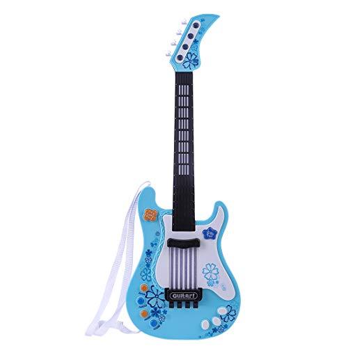 MRKE Guitarra Electrica Niños 57cm Rock Juguete de Instrumentos Musicales con Luces de Colores para Infantil Niño y Niña 3-7 Años (Azul)