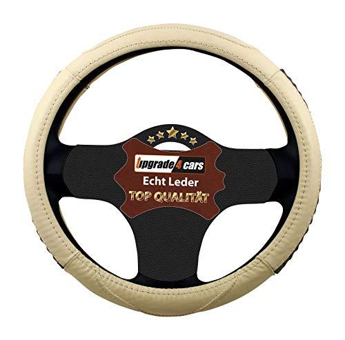 Upgrade4cars copri-volante auto universale nero in vera pelle   copertura di volante diametro 37-39 cm   accessori auto interno   regali per donna e uomo   antiscivolo imbottito inodore (75)