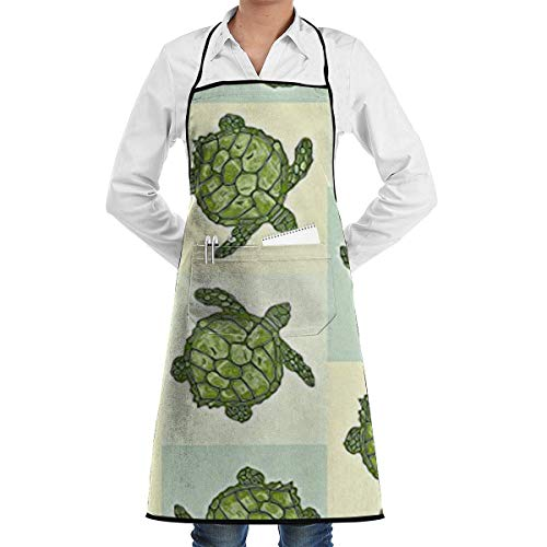Drempad Schürzen/Kochschürze, Sea Turtle Batik Squares in Soft Yellow, Blue and Green Aprons for Women with Pockets Water Resistant Adjustable Kitchen Aprons Dish Washing Grooming Chef Aprons Blue Square Dish