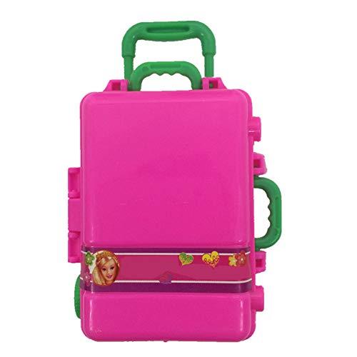 Jushi Custodia da Viaggio Mini Giocattolo di plastica Rosa Valigia 3D Bagagli di Corsa di Caso Accessori Bambola per la Bambola Decorazione della casa (A)