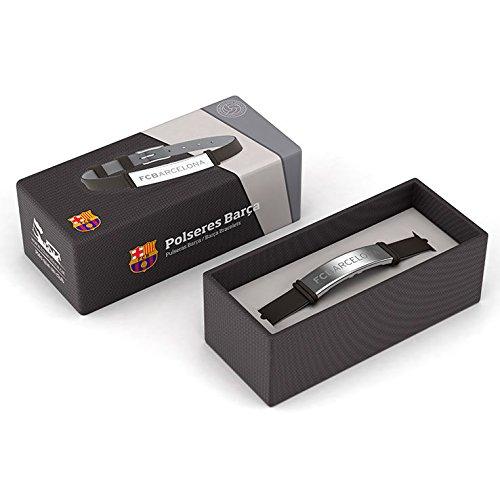 Pulsera FCBarcelona de silicona y acero inoxidable ajustable, 1 pieza de 185 x 8 mm.