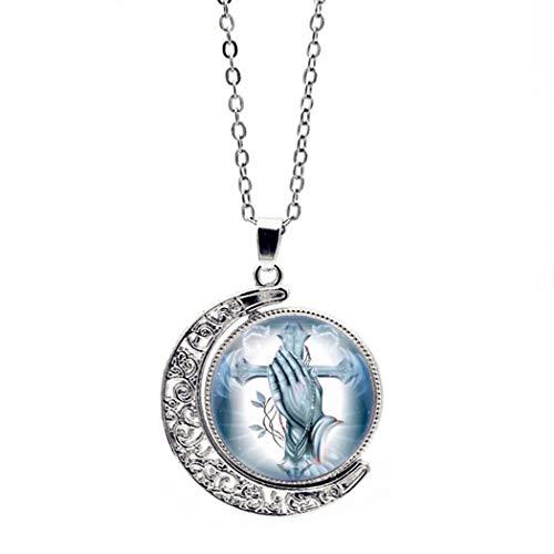 YUANOMSL Frauen Halskette,Zeit Edelstein,Silbernes Kreuz Beten Kunst Doppelseitiges Drehendes Europäisches Und Amerikanisches Halskettenkristallanhänger-Retro Strickjackeketten-Feriengeschenk -