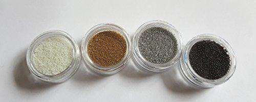 NEW Lot de 4 Contenants Micro Caviar Micro Perles Blanc/argenté/doré/noir Boules de micro perles nail art nail art manucure pédicure einleger Accessoires Glitter Peinture à paillettes