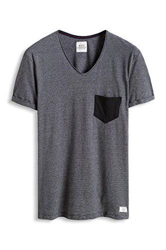 edc by ESPRIT Herren T-Shirt 016cc2k011-Gestreift-Slim Fit Schwarz (Black 001)