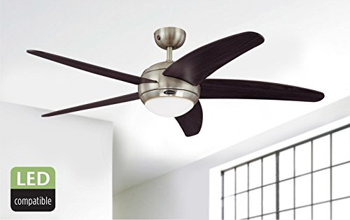 415RMI7RM7L - Westinghouse Ceiling Fans 72557 Bendan One-Light 132 cm Five Indoor Ceiling Fan, Opal Frosted Glass, Satin Chrome Finish…