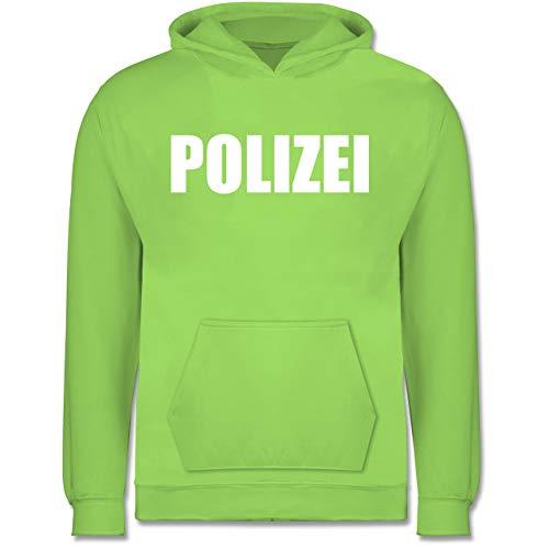 Shirtracer Karneval & Fasching Kinder - Polizei Karneval Kostüm - 12-13 Jahre (152) - Limonengrün - JH001K - Kinder Hoodie