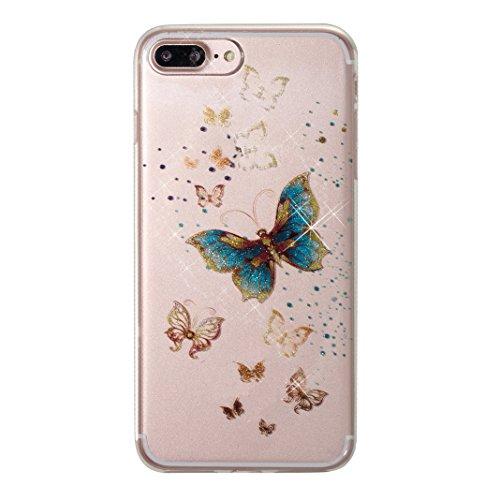 iPhone 8 Plus Hülle Glitzer, iPhone 7 Plus Case Cover, Asnlove Schutzhülle Handy-Tasche im Glitter Sparkle Glänzende Design für Apple iPhone 8 Plus Hülle Silikon Shiny Glitter Case Etui Handyhülle Schale, Schmetterlinge