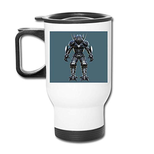 QIUJUAN 400ML Water Coffee Cup Stainless Steel Print Portable Armor Robot Coffee Mug For Home Office School Travel With Handle White (Keurig Portable)