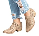 NEOKER Damen Lederschuhe Pointed Elegant Block Heels Reißverschluss Trichterabsatz Herbst Outdoor Schuhe Frauen Wedge Sneakers 5cm Khaki 37