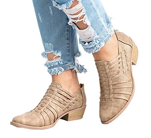 NEOKER Damen Lederschuhe Pointed Elegant Block Heels Reißverschluss Trichterabsatz Herbst Outdoor Schuhe Frauen Wedge Sneakers 5cm Khaki 42