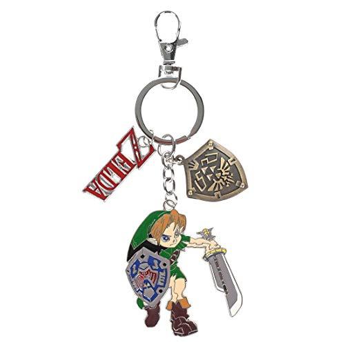 cosplaystudio Legend of Zelda Schlüsselanhänger mit Link, Hyrule Schild & Zelda Schriftzug aus Metall