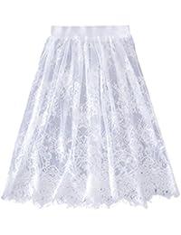 Balai Femme jupe à ajouree solide Casual Shorts jupe en tulle Tulle Lace tutu Jupe Crayon courte élégante jupe Noire Blanc Été dentelle Mode Jupe Mi-longue
