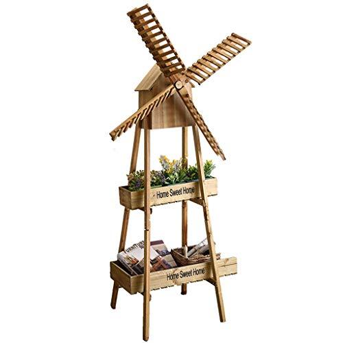 IU Desert Rose Étagère de balcon Stand de fleur en bois massif moulin à vent fleur stand salon balcon rack café décoration (Couleur: couleur bois, taille: 58 * 42.5 * 135cm)