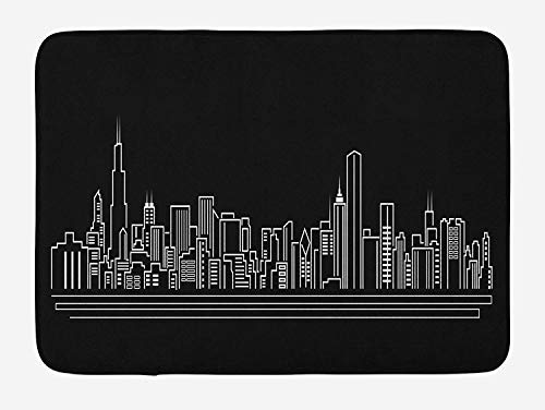ZKHTO Chicago Skyline Bath Mat, Line Abstract Style Urban Silhouette of Popular American Town Office Print, Plush Bathroom Decor Mat with Non Slip Backing, 23.6 W X 15.7 W Inches, Onyx White (Silhouette Halloween Town)