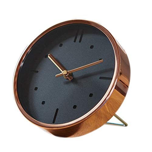JTWJ Uhr Schlafzimmer Moderne minimalistische Desktop stille Uhren Wohnzimmer Wanduhren Nacht Uhr 6.29 X 1.77 In Kupfer
