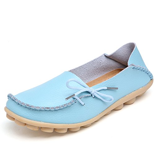 Damen Casual Mokassin Leder Loafers Fahren Schuhe Comfort Freizeit Flache Schuhe Slipper Flats chuhe Low-top Lederschuhe Erbsenschuhe Hellblau