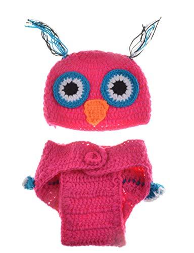 Aru Neugeborenen Fotografie Requisiten Baby Cute Crochet Owl Outfits Kostüm Set , Rose