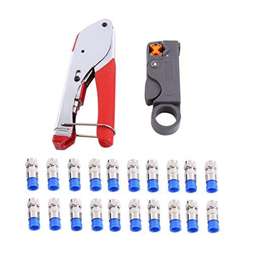 Kompressionszange Sat Stecker Werkzeug Koax-Kabel Stripper RG59/RG6 Crimper mit 20 F Stecker Crimper Armatur(Zange + Abisoliermesser + 20 Stück Stecker)
