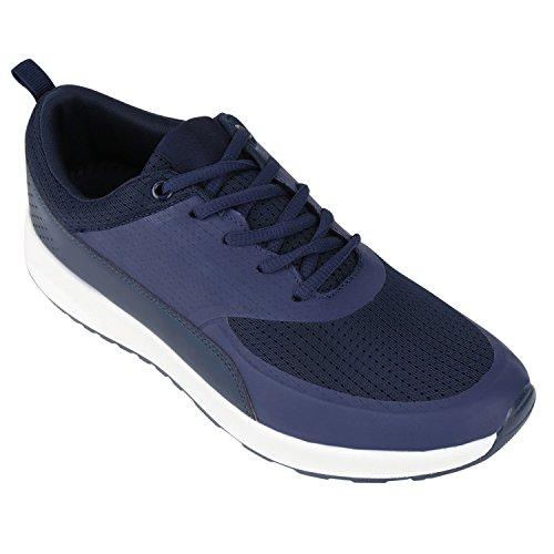 Damen Herren Sportschuhe Runners Laufschuhe Sneakers Neon Dunkelblau Weiß