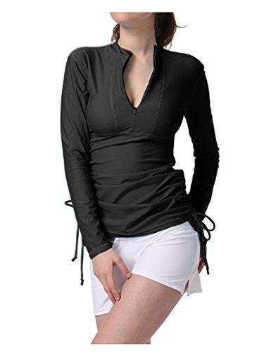 DUSISHIDAN Damen Rash guard Surfen UV-Shirt Langarm Schwimmshirt UPF 50+ Sonnenschutz Schwarz S