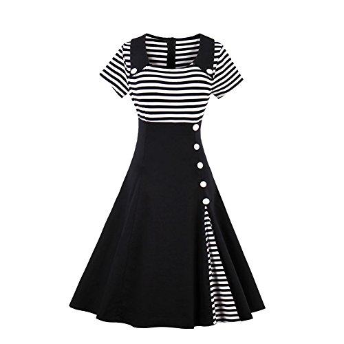 Là Vestmon Kurze Ärmel Vintage Damen Kleid,Schwarz ( XXXXL )