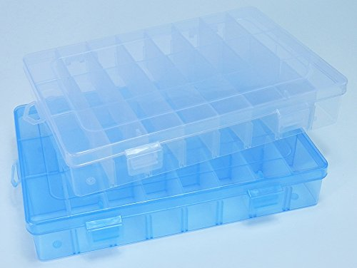 Duofire 2 Packs (2 Colors) Plastic Storage Box(24 Compartments) Jewelry Earring Tool Containers (Transparent,Blue)