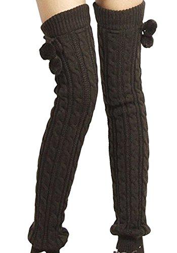 Wolle Knie Hohe Socken (Natuworld Frauen Lady Fashion Knie Hohen Bein Winter Strick Wolle Knie Oberschenkel Hohe Socken Beinwärmer, Dunkelgrau)