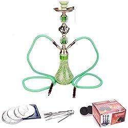 DXP Shisha Hookah 55 cm 2 Manguera con carbón y papel verde