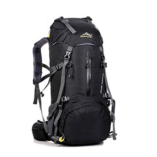 50L Bergsteigen Rucksack mit Regen Abdeckung Nylon leichte tragbare Tasche für Camping Wandern unterwegs Reiten H60 x L30 x T20 cm Black