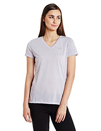 Under Armour Threadborne Train V Point Women's Sports T-Shirt (1289648-500_XS_Lavender Ice, Flint and Steel)