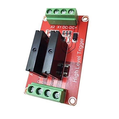 Sharplace Rot Solid State Relais Modul Schild Erweiterungsboard Relaismodul High Level Trigger Relaisplatine mit Fuse 240v 2a - 2 Kanal 24V -
