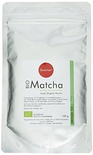 Quertee Japan Bio Matcha Tee Pulver – 100 g im Alu-Zip-Beutel – Japanischer Grünteepulver, 1er Pack (1 x 100 g)